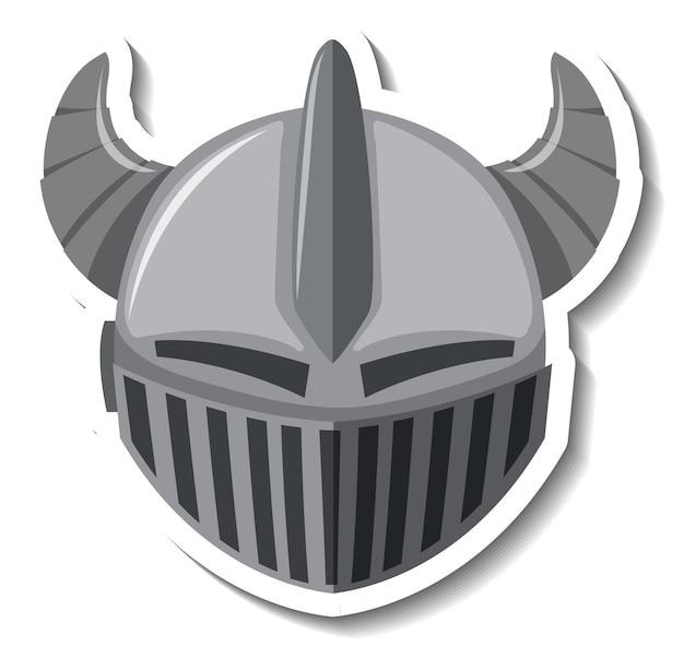 Ritterhelm mit horn-cartoon-aufkleber