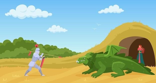 Ritterkrieger, der mit grünem fantasy-monsterdrachen kämpft
