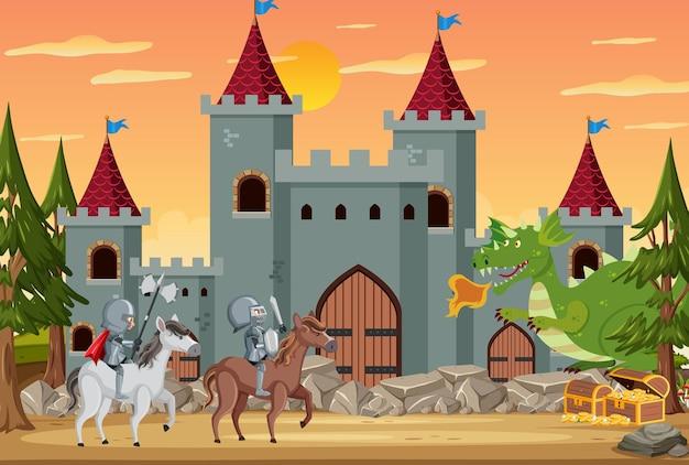 Ritterreitpferd vor der burg