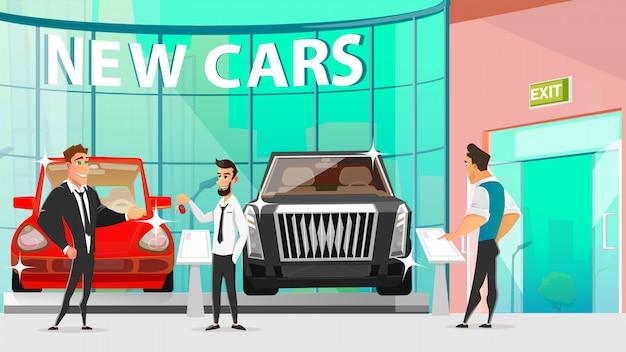 Rivalität der autohändler während des automotive showroom sale