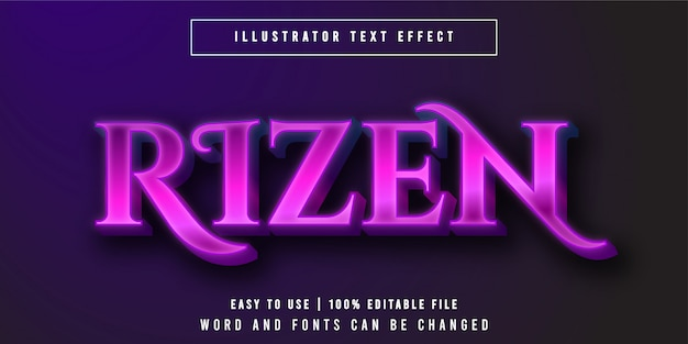 Rizen, lila leuchtender texteffektstil