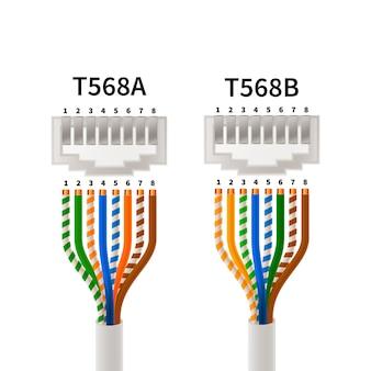 Rj45-crossover-pin-zuordnung in den verbindungstypen t568a und t568b, infografik-schema