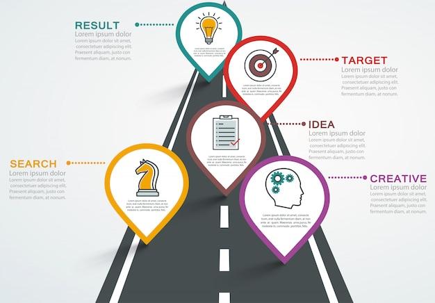 Road infografik mit zeigern, timeline mit 5 schritten.