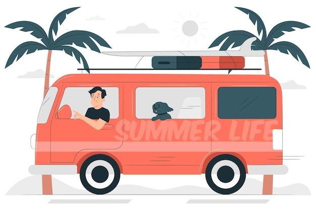 Road trip konzept illustration