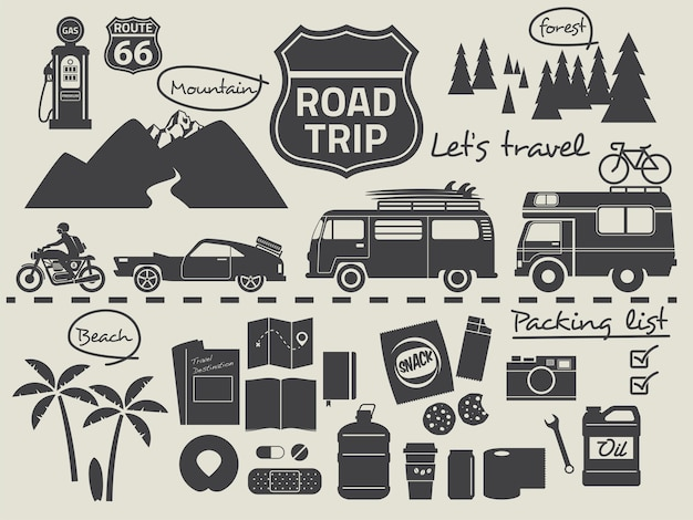 Road trip packliste infographik elemente