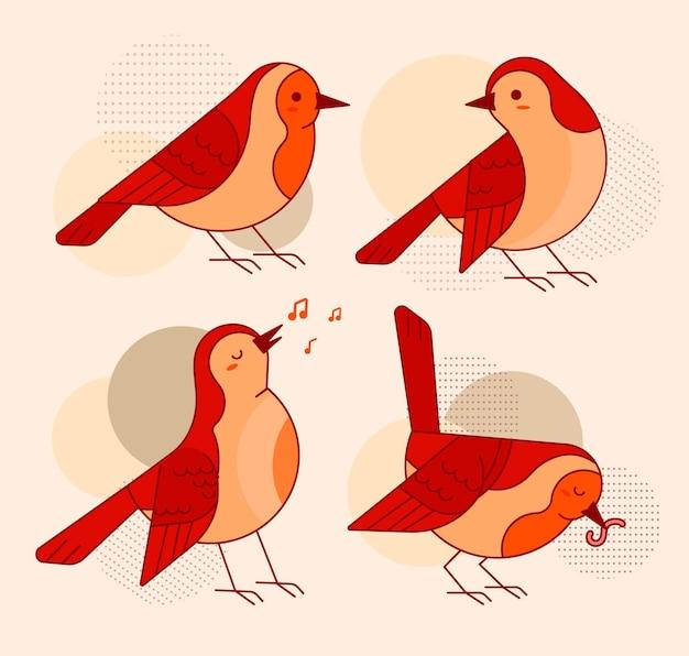 Robin flache illustrationsaufkleber-set