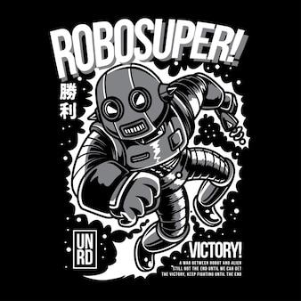 Robosuper-schwarzweiß-illustration