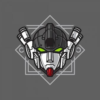 Robot soldier head warrior logo mit geometrischem hintergrund