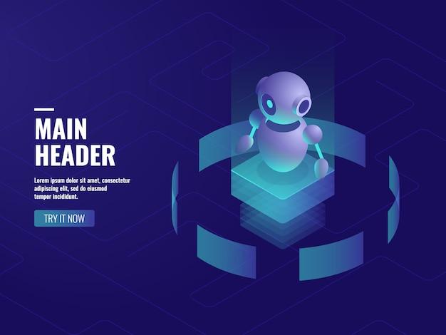 Roboter ai künstliche intelligenz, online-beratung und support, computertechnologie