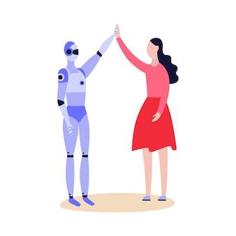 Roboter android und frau grüßen einander freundlich und geben fünf karikaturillustration auf weißem hintergrund. technologie der künstlichen intelligenz.