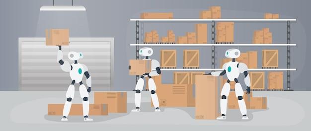 Roboter arbeiten in einem fertigungslager. roboter tragen kisten und heben die last. futuristisches konzept der lieferung, des transports und der verladung von waren. großes lager mit kisten und paletten. vektor.