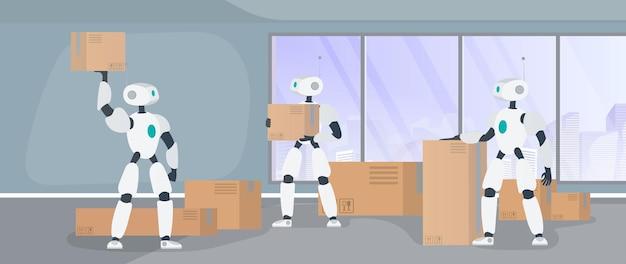 Roboter arbeiten in einem fertigungslager. roboter tragen kisten und heben die last. futuristisches konzept der lieferung, des transports und der verladung von waren. vektor.