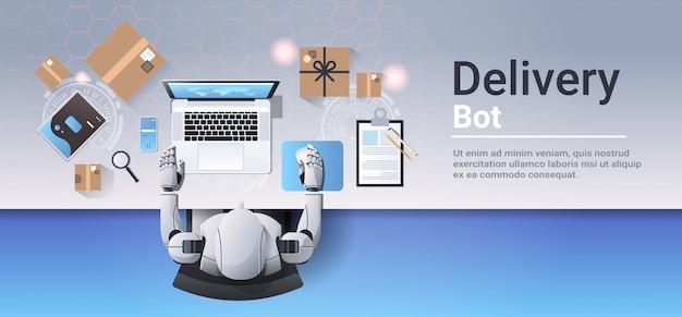 Roboter arbeitet am laptop online-shopping expressversand lieferung bot service-konzept