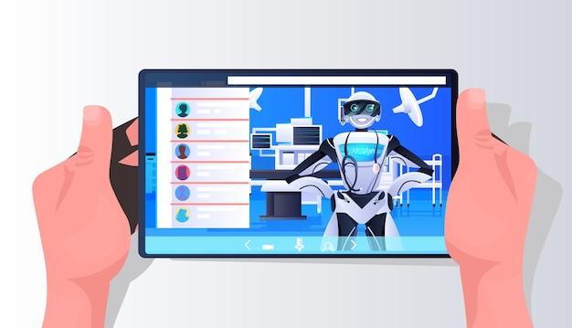 Roboter-arzt-chirurg auf smartphone-bildschirm medizin gesundheitswesen online-medizinische beratung künstliche intelligenz-technologie-konzept horizontale porträt-vektor-illustration