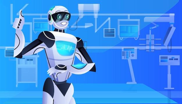 Roboter-arzt-chirurg im klinik-op-raum medizin gesundheitswesen künstliche intelligenz technologie-konzept horizontales porträt