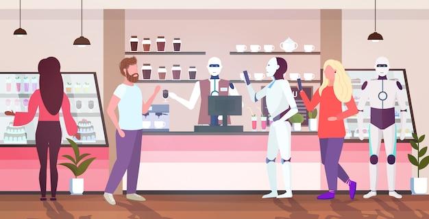 Roboter barista dient menschen und roboter kunden künstliche intelligenz