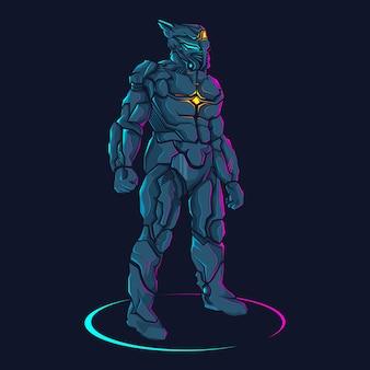 Roboter blaue illustration
