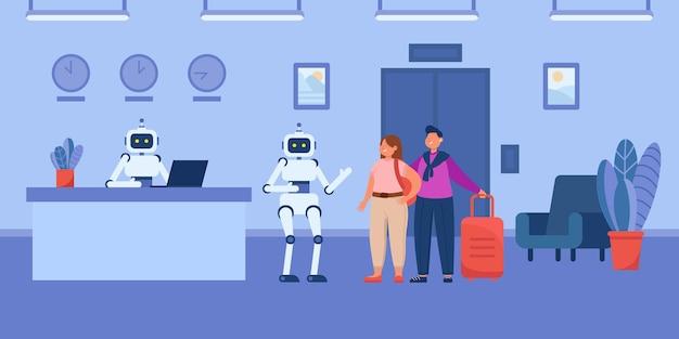 Roboter-cartoon-träger, der den gästen beim aufzug im hotel hilft