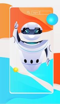 Roboter-chatbot-assistent auf smartphone-bildschirm online-kommunikationskonzept für künstliche intelligenz