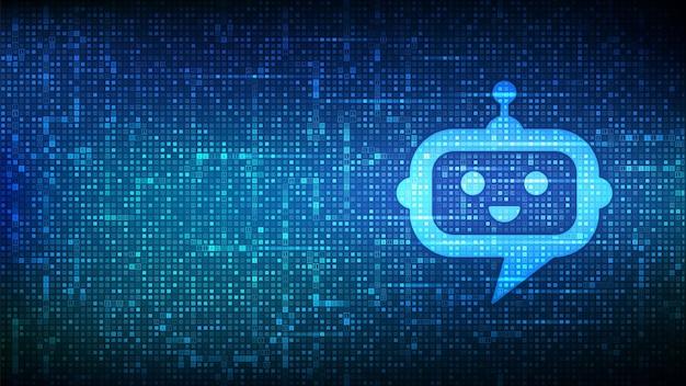 Roboter-chatbot-kopfsymbol mit binärcode. chatbot-assistentenanwendung. ki-konzept. digitale binärdaten und streaming-digitalcode. matrixhintergrund mit ziffern 1.0. vektor-illustration.