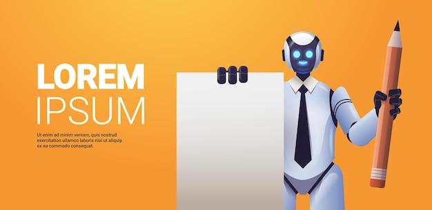 Roboter-cyborg mit notizblock und bleistift roboter-charakter-technologie für künstliche intelligenz