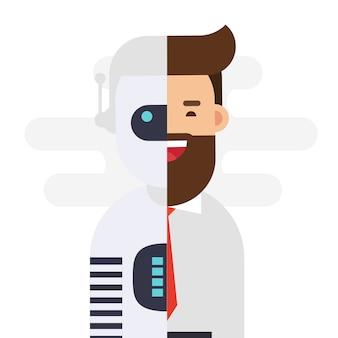 Roboter, der an geschäftsmann anschließt