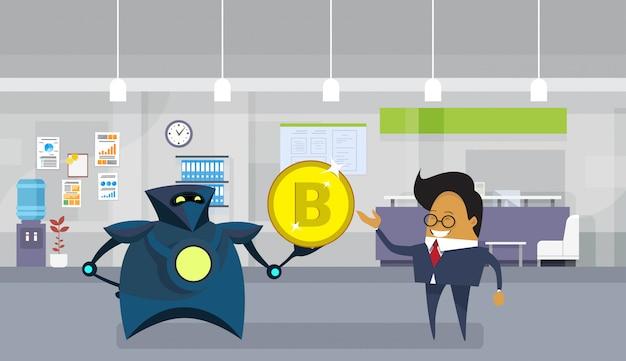 Roboter, der asiatischen geschäftsmann bitcoin gibt