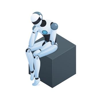 Roboter, der auf isometrischer zusammensetzung des würfels denkt
