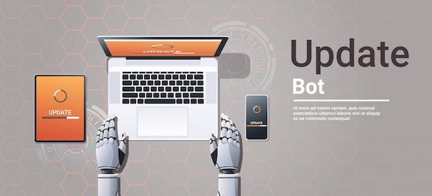 Roboter, der digitale geräte aktualisiert