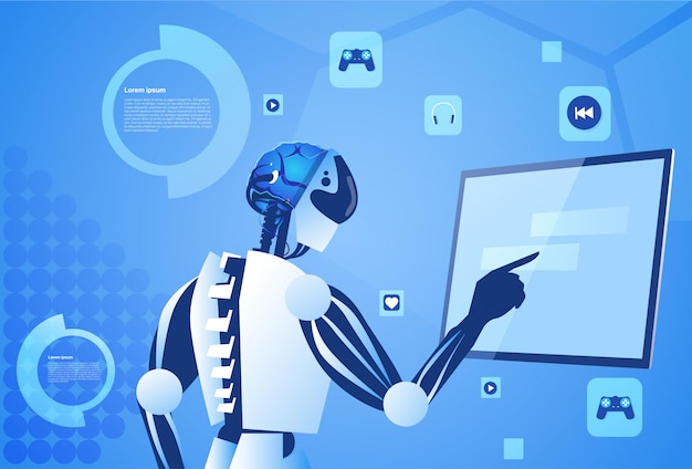 Roboter, der digitalen bildschirm arbeitet