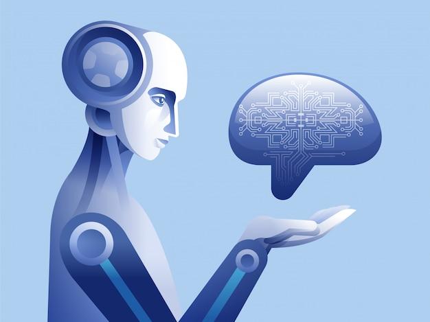 Roboter, der digitales menschliches gehirn berührt