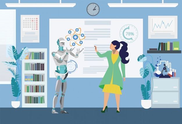 Roboter, der in der wissenschaftlichen test-flachen illustration hilft