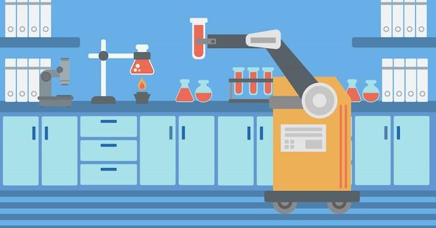 Roboter, der in einem labor mit einem reagenzglas arbeitet.