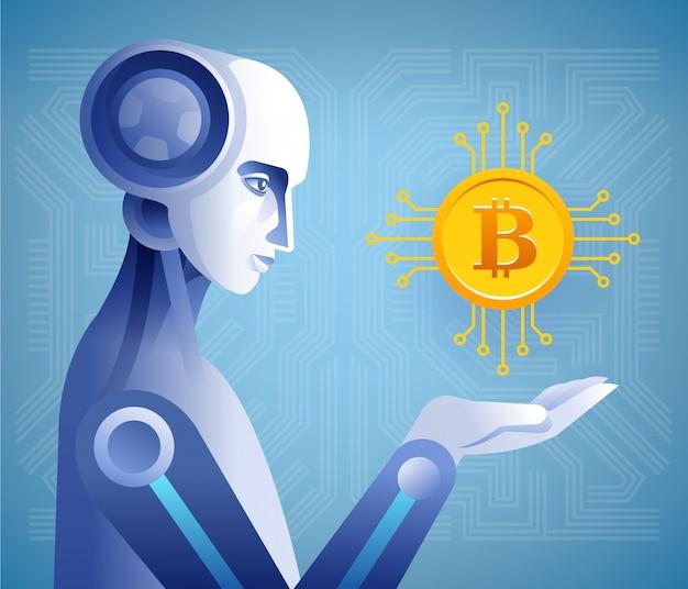 Roboter, der kryptowährung hält.