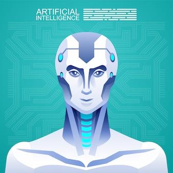 Roboter der künstlichen intelligenz gegen menschen