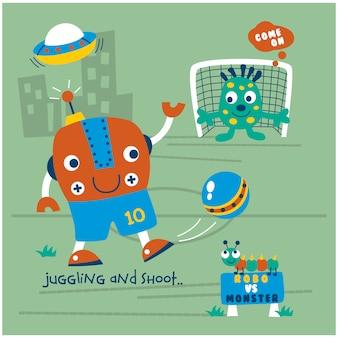 Roboter, der lustige karikatur des fußballs spielt