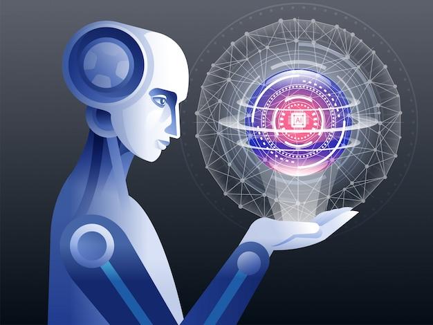 Roboter, der mit illustration der virtuellen realität arbeitet