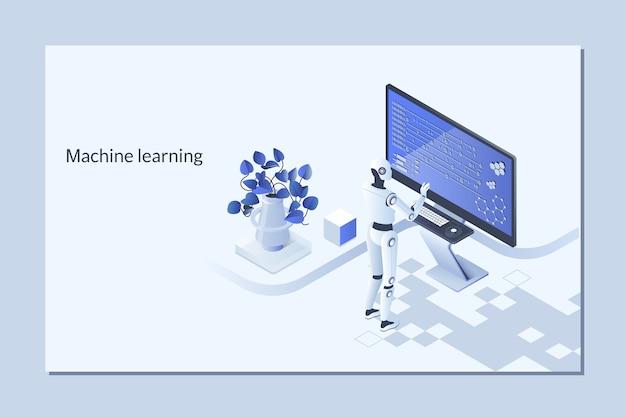 Roboter, der probleme lernt oder löst. maschinenlernalgorithmuskonzept