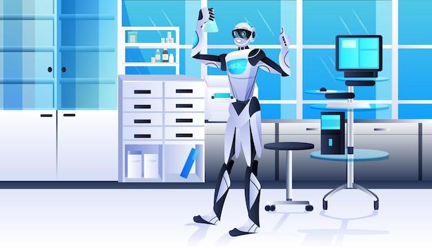 Roboter, der reagenzglas mit flüssigem roboterchemiker hält, der experimente im labor der gentechnik künstlicher intelligenz macht konzept moderner laborinnenraum in voller länge horizontal