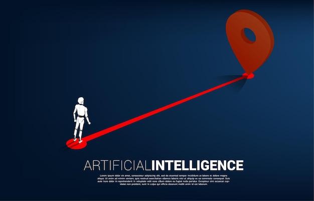 Roboter, der zwischen 3d-standortmarkierungen und geschäftsmann steht. banner für standort und richtung und ai
