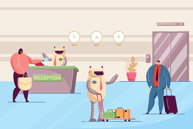 Roboter, die als hotelangestellte arbeiten. flache vektorillustration. roboter an der rezeption und portier helfen den gästen beim ein- und auschecken im hotel. technologien, künstliche intelligenz, servicekonzept