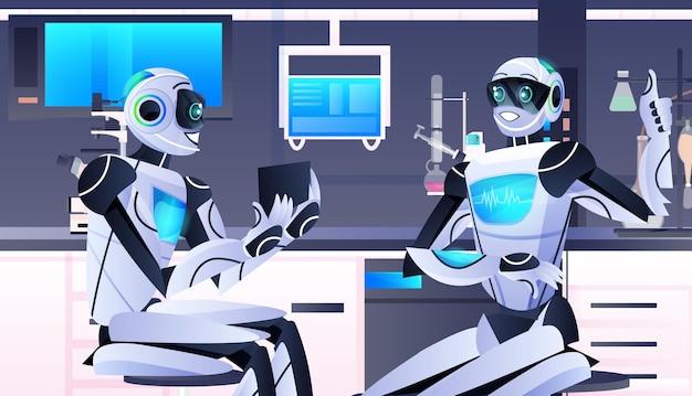 Roboter, die ein reagenzglas mit flüssigen roboterchemikern halten, die experimente im labor für gentechnik künstliche intelligenz technologiekonzept horizontale porträtvektorillustration durchführen