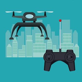 Roboter-drohne mit zwei luftschraube fliegen und basis