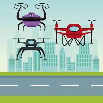 Roboter-drohnen mit zwei luftschrauben fliegen und basis