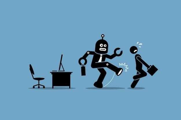 Roboter ersetzt mensch. konzept von automatisierung, zukünftigem arbeiter, künstlicher intelligenz und roboter.