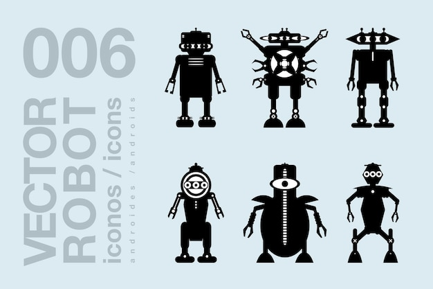 Roboter flache symbole 003 vektor-roboter-silhouetten eingestellt
