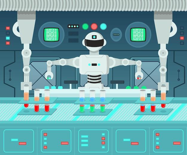 Roboter führt experimente in einem labor durch! hintergrund für spiele auf ebenen.