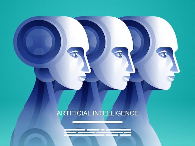 Roboter für künstliche intelligenz gegen menschen