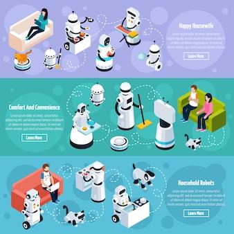 Roboter für zuhause isometrische banner