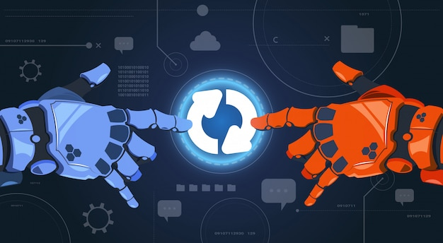 Roboter-hände, die digital-knopf des system-updates auf modernem schirm-zusammenfassungs-technologie-hintergrund berühren